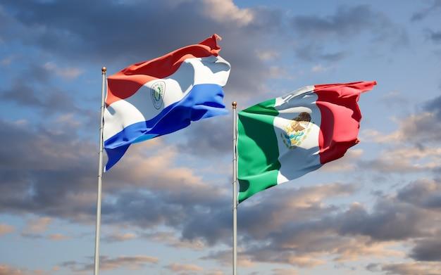 Drapeaux du paraguay et du mexique. illustration 3d