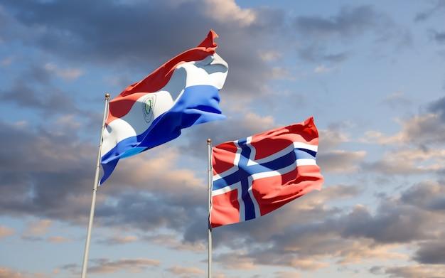 Drapeaux du paraguay et de la norvège. illustration 3d