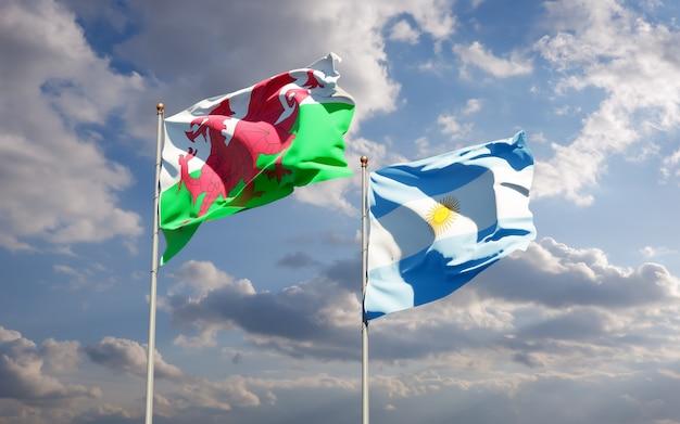 Drapeaux du pays de galles et de l'argentine. illustration 3d
