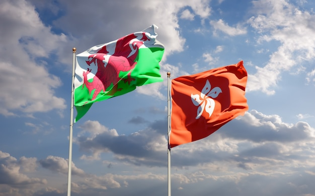 Drapeaux du pays de galles et de hong kong hk.