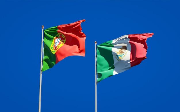 Drapeaux du portugal et du mexique. illustration 3d