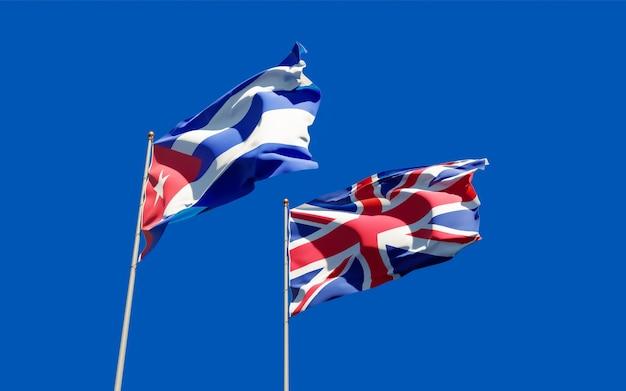 Drapeaux du royaume-uni britannique et de cuba. illustration 3d