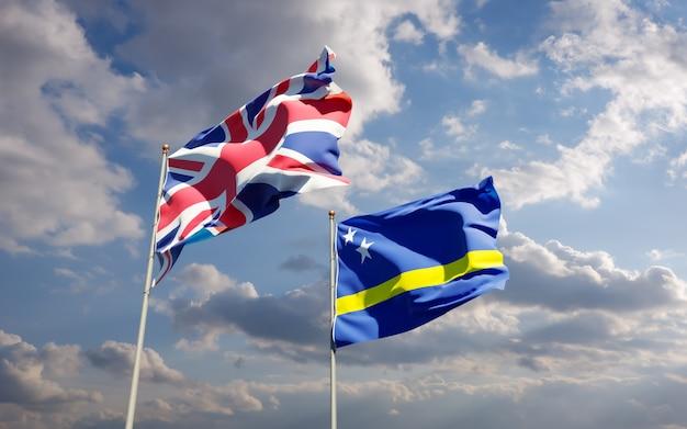 Drapeaux du royaume-uni britannique et curaçao. illustration 3d