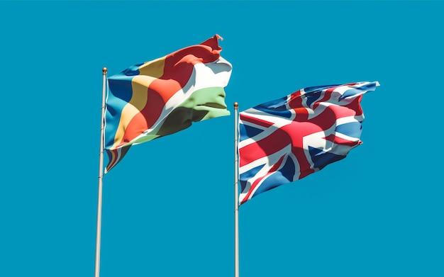 Drapeaux du royaume-uni et des seychelles. illustration 3d