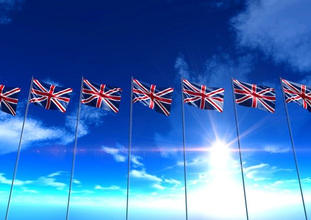 Drapeaux du royaume-uni sous un ciel bleu, rendu 3d
