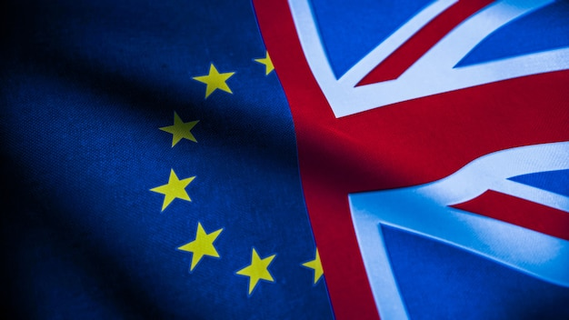 Drapeaux du royaume-uni et de l'union européenne. concept de brexit. drapeau de la grande-bretagne et de l'euro. rendu 3d.