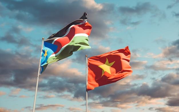 Drapeaux du soudan du sud et de la rd congo sur fond de ciel