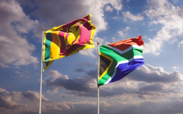 Drapeaux du sri lanka et de la ras africaine. illustration 3d