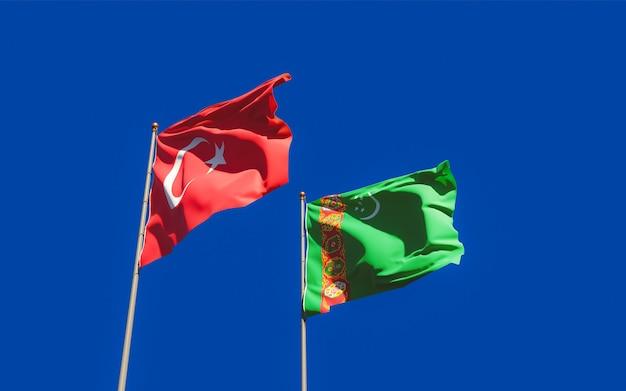 Drapeaux du turkménistan et de la turquie. illustration 3d