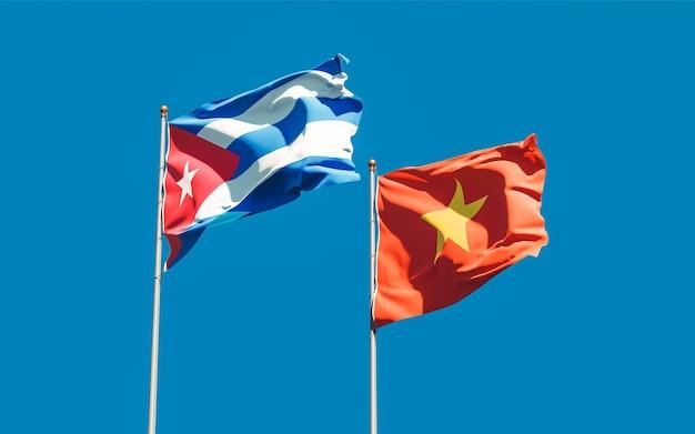 Drapeaux du vietnam et de cuba. illustration 3d