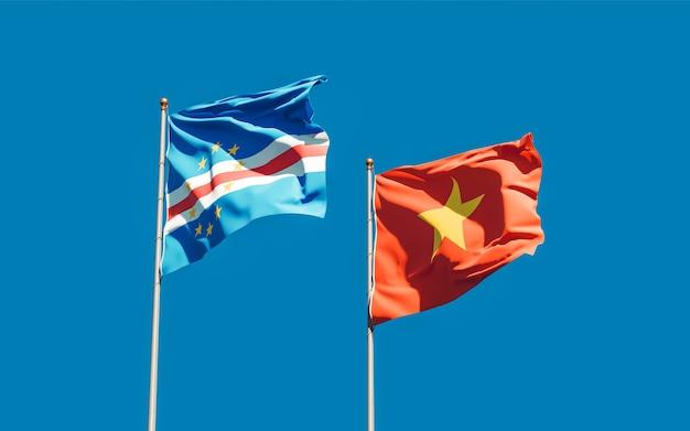 Drapeaux du vietnam et du cap-vert. illustration 3d