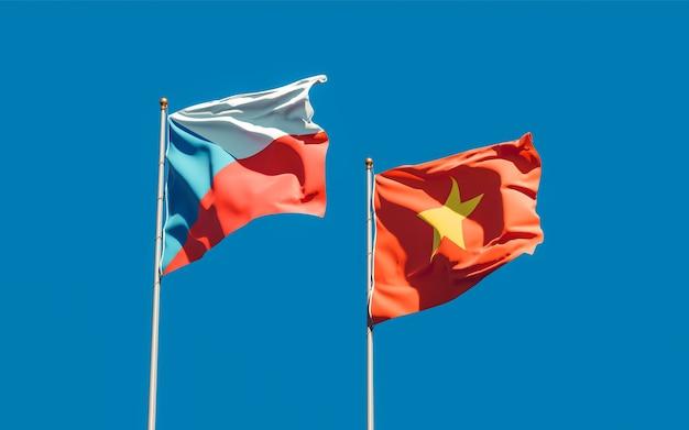 Drapeaux du vietnam et du tchèque. illustration 3d