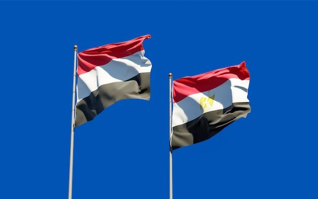 Drapeaux du yémen et de l'égypte. illustration 3d