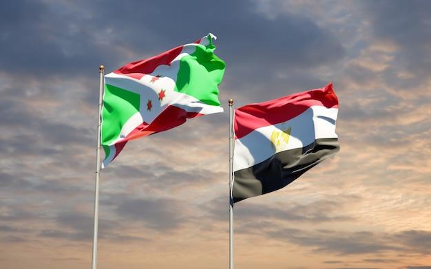 Drapeaux de l'égypte et du burundi. illustration 3d