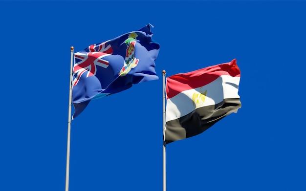 Drapeaux de l'égypte et des îles caïmans. illustration 3d