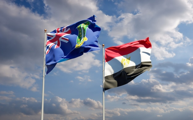 Drapeaux de l'égypte et des îles vierges britanniques. illustration 3d