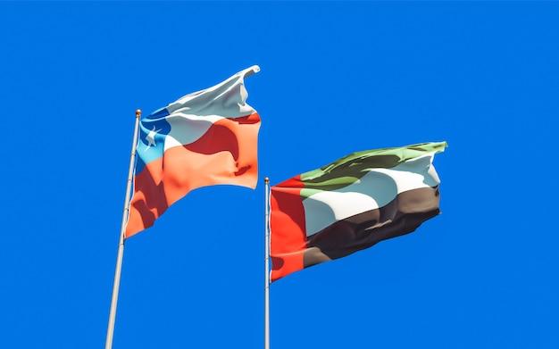 Drapeaux des emirats arabes unis et du chili. illustration 3d