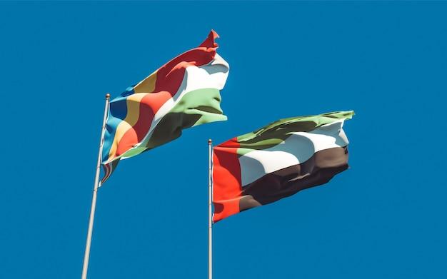 Drapeaux des émirats arabes unis, des émirats arabes unis et des seychelles. illustration 3d