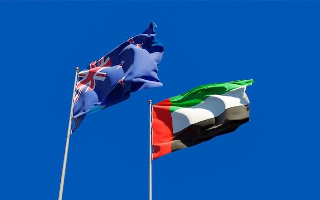 Drapeaux des emirats arabes unis nouvelle-zélande et nouvelle-zélande