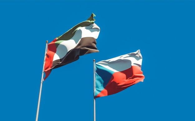 Drapeaux des emirats arabes unis et tchèque. illustration 3d