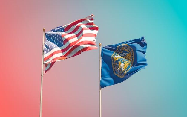 Drapeaux de l'état américain du nebraska au ciel dégradé