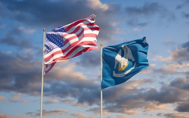 Drapeaux de l'état américain de la louisiane à fond de ciel. illustration 3d