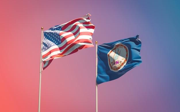 Drapeaux de l'état américain de virginie au ciel dégradé