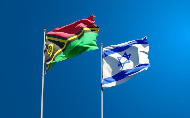 Drapeaux d'état du vanuatu et d'israël ensemble sur fond de ciel