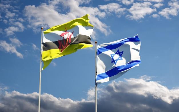 Drapeaux d'état d'israël et de brunei ensemble sur fond de ciel