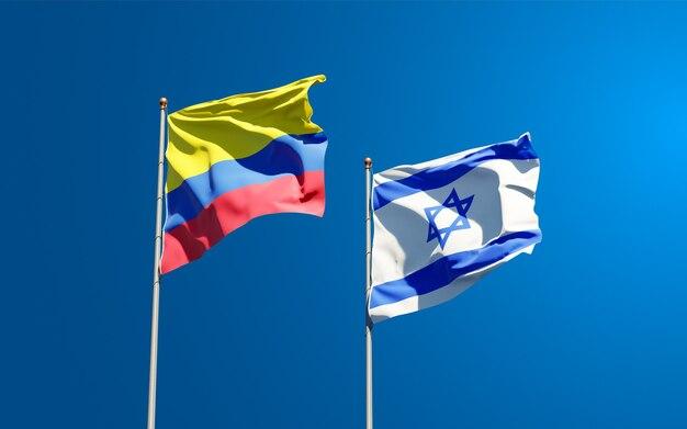 Drapeaux d'état d'israël et de la colombie ensemble sur fond de ciel