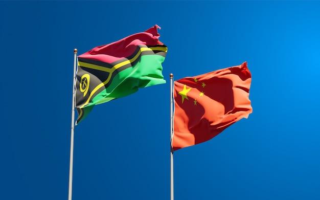 Drapeaux des états nationaux du vanuatu et de la chine ensemble