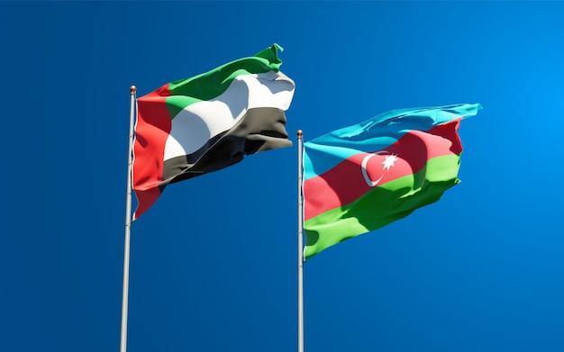 Drapeaux des états nationaux des émirats arabes unis, des émirats arabes unis et de l'azerbaïdjan ensemble