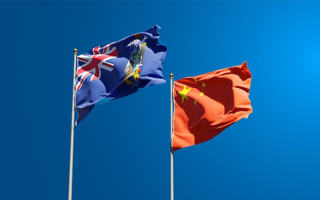 Drapeaux des états nationaux de la géorgie du sud et des îles sandwich du sud et de la chine ensemble