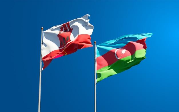 Drapeaux des états nationaux de gibraltar et de l'azerbaïdjan ensemble