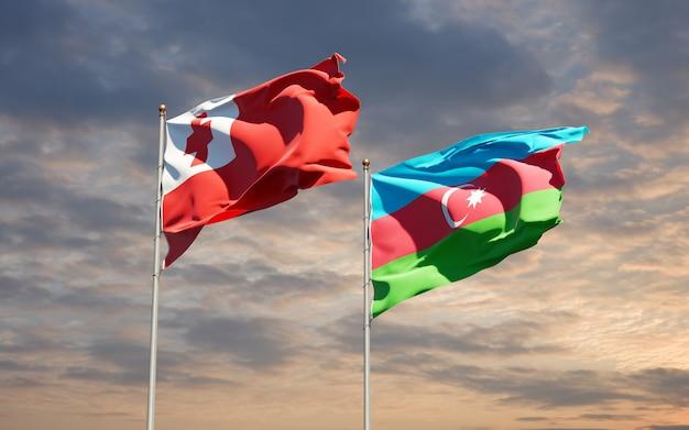 Drapeaux des états nationaux des tonga et de l'azerbaïdjan ensemble