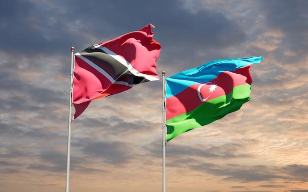 Drapeaux des états nationaux de trinité-et-tobago et d'azerbaïdjan ensemble