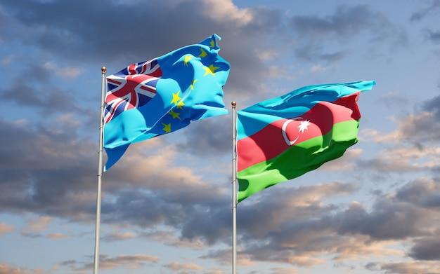 Drapeaux des états nationaux de tuvalu et d'azerbaïdjan ensemble