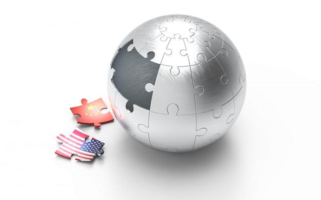 Les drapeaux des états-unis et de la chine sur les pièces du puzzle.