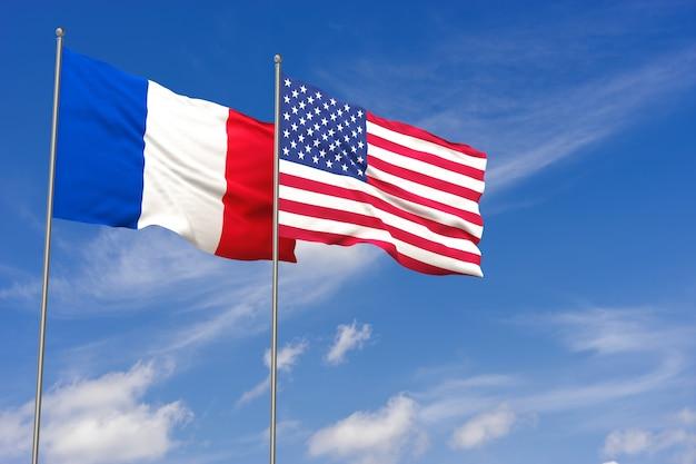 Drapeaux des états-unis et de la france sur fond de ciel bleu. illustration 3d