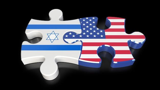 Drapeaux Des états-unis Et D'israël Sur Les Pièces Du Puzzle. Notion De Relation Politique. Rendu 3d Photo Premium