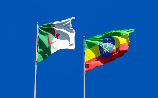 Drapeaux de l'éthiopie et de l'algérie. illustration 3d