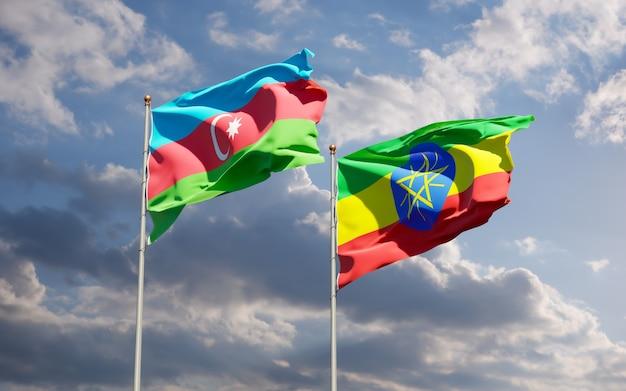 Drapeaux de l'éthiopie et de l'azerbaïdjan. illustration 3d