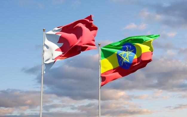 Drapeaux de l'éthiopie et de bahreïn. illustration 3d