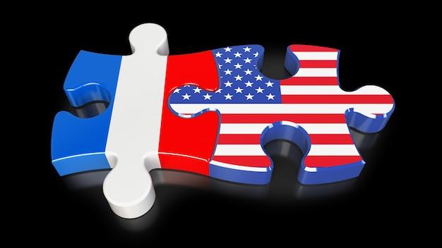 Drapeaux de la france et des états-unis sur les pièces du puzzle. notion de relation politique. rendu 3d