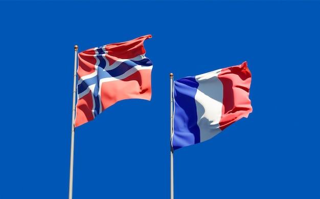 Drapeaux de la france et de la norvège