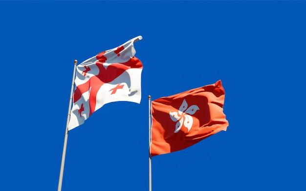 Drapeaux de la géorgie et de hong kong hk.