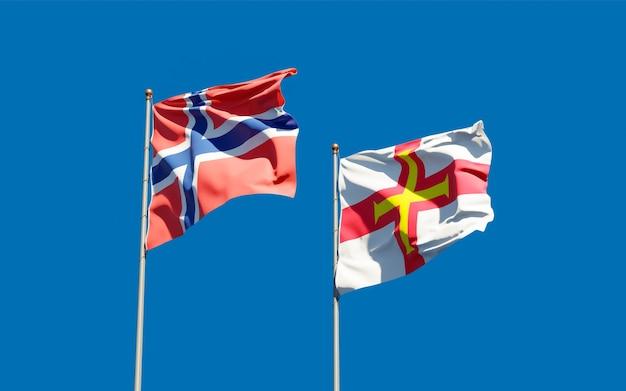 Drapeaux de guernesey et de la norvège