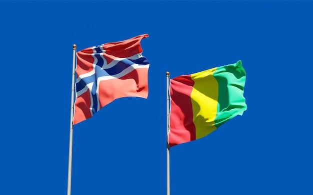 Drapeaux de la guinée et de la norvège