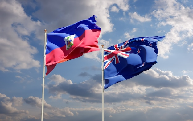 Drapeaux d'haïti et de nouvelle-zélande. illustration 3d