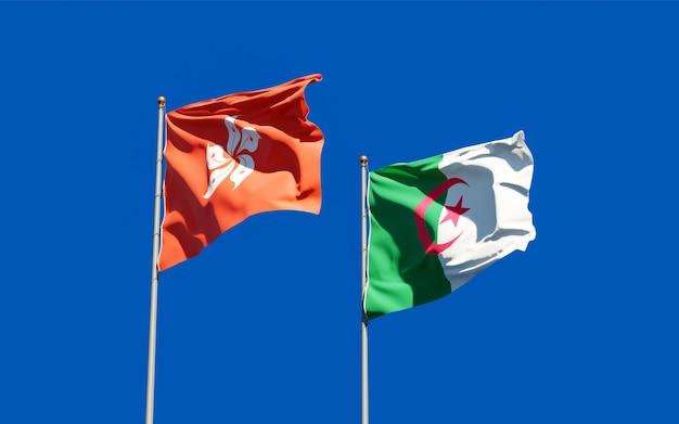Drapeaux de hong kong hk et de l'algérie